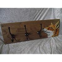 Handmade solid elm Fox coat rack/hooks