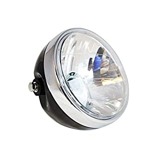 Custom Motorbike Headlight - Universal - Black Metal for Cafe Racer Street Bike Project - E-marked