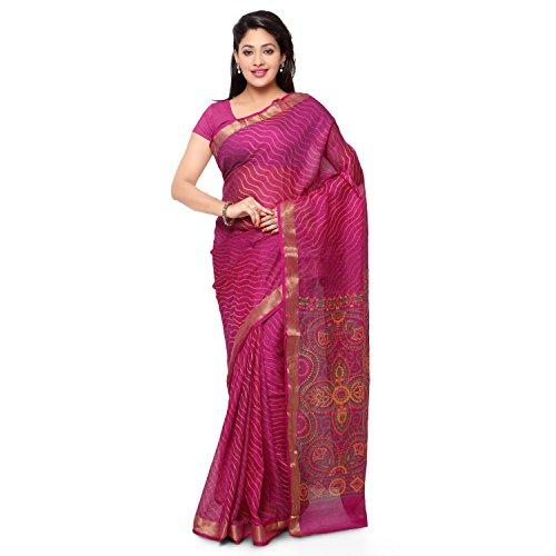 Rajnandini Women's Kota Silk Saree With Blouse(JOPLSRS1080B_Magenta_Free Size)