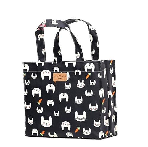 Sturdyfoot s borsa per i libri, borsa porta pranzo, borsa grande, borsa shopping, borsa da palestra, tela cerata borsa - nera coniglio