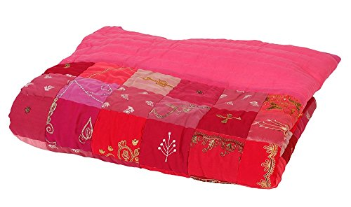Colorique Bindi Plaid Patchwork Framboise, 140 x 200 cm