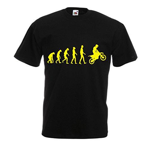lepni.me Maglietta da Uomo Evoluzione Motocross, Moto Sporca, Maglia da Moto, Abbigliamento da Corsa, Moto da Fuoristrada (Medium Nero Giallo)