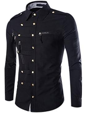Camicie Uomo Slim Fit Maniche Lunghe Casual Camicia Top Camicetta Shirt Moda Men Camicia Abito Snaps Shirts