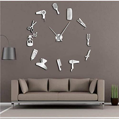 KWYAN Bricolaje Peluquería Reloj de Pared Gigante Efecto Espejo Barber Toolkits Decorativo Reloj sin Marco Reloj Peluquero Peluquero Arte de Pared (Plata) 27inch