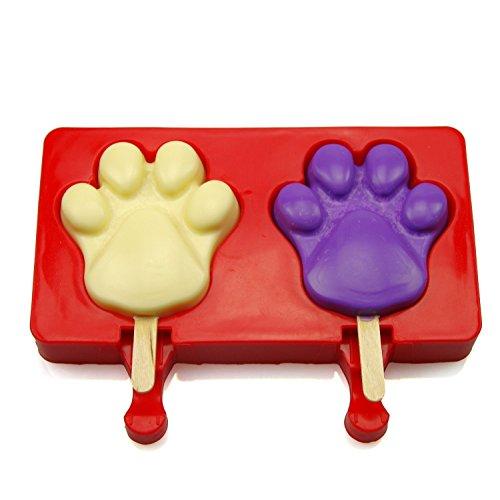misula 2Mulden Silikon Pop Schimmel Popsicle Formen wiederverwendbar Jello Formen Ice Pop Maker Schokolade Candy Formen mit 20Gratis Sticks aus Holz Paw (Pop Candy Schimmel)