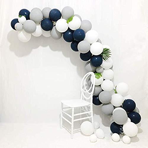 Ballon Girlande Arch Kit 16Ft Lange blaue und graue Ballons 90 Stück 12 Zoll Marineblau Ballons Weiße Ballons Matte Ballons und graue Ballons für Royal Baby Shower, Der kleine Prinz, Navy Party