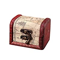 KUSUOU Mini Pirate Treasure Chest Storage Box - Durable Wood & Metal Construction - Unique, Handmade Vintage Design With A Front Lock - Striking Decorative Element - Gift
