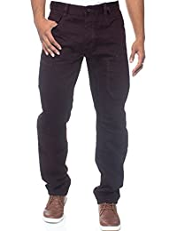 New Mens ETO Tapered Fit Smart Casual Denim Jeans Burgundy 28-42