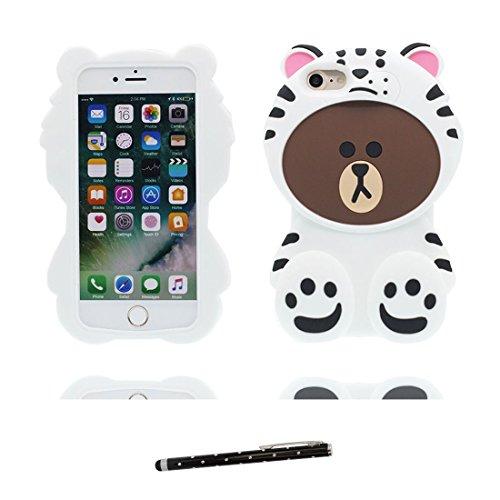iPhone 6S Plus Custodia, morbida guarnizione TPU in gomma antigraffio protettiva Case copertura per iPhone 6s Plus /6 Plus 5.5 Cover + penna di tocco / Cartoon Progettato 3D Sushi bianca 1