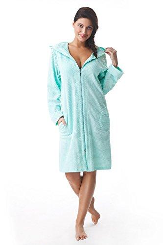 DOROTA kuscheliger und moderner Baumwoll-Bademantel mit Taschen, Reißverschluss & Kapuze, mint, Gr. XL (Reißverschluss-frottee-bademantel)