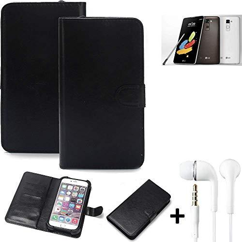 K-S-Trade 360° Handyhülle Wallet Case LG Stylus 2 DAB+ Schutz Hülle Smartphone Flip Cover Flipstyle Tasche Schutzhülle Flipcover Slim Bumper schwarz, 1x + in Ear Headphones