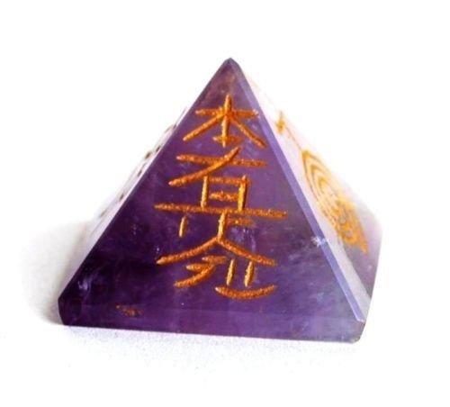 Shivansh Creations cristalli di guarigione naturale della pietra preziosa piramide Amethyst (Pietra Amethyst Silver Ring)
