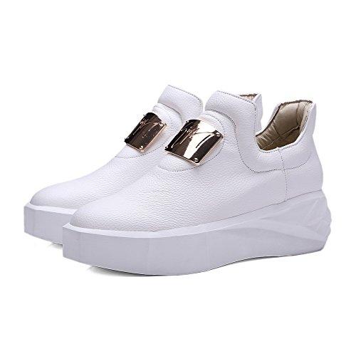 VogueZone009 Femme Matière Mélangee Tire Rond à Talon Correct Couleur Unie Chaussures Légeres Blanc