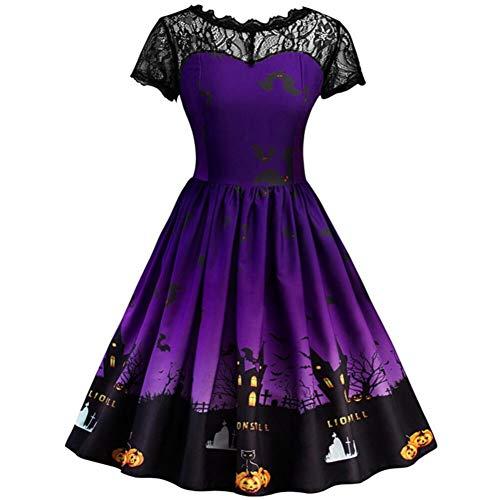 Bornbayb Halloween Kleider für Damen und Mädchen Lace Dress Party Kostüme 3D gedruc