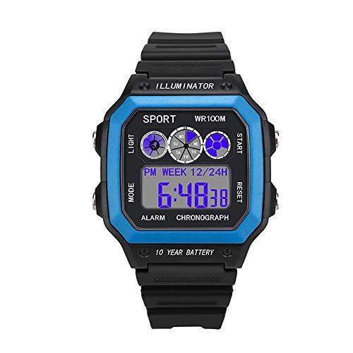ZUZEN 2018 Uhren Herrenuhr Elektronische Digitalanzeige Retro Style Clock Männer Relogio Männlich Reloj Hombre Herrenuhr,Blue