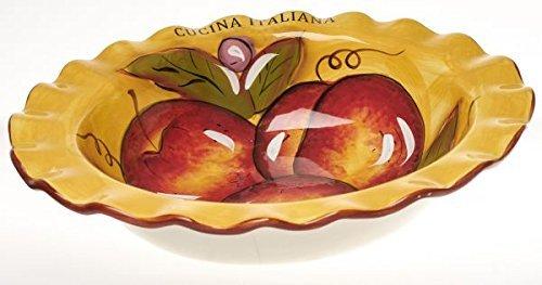 Original Cucina Italiana Ceramic Salad Bowl, Yellow with Brown Rim, Fruit Design by 5th Ave (Brown Ceramic Bowl)