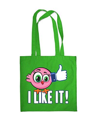 Einkaufstasche Eco Funny Bird I Like It. 2Tote Beach Schulter Handtasche grün