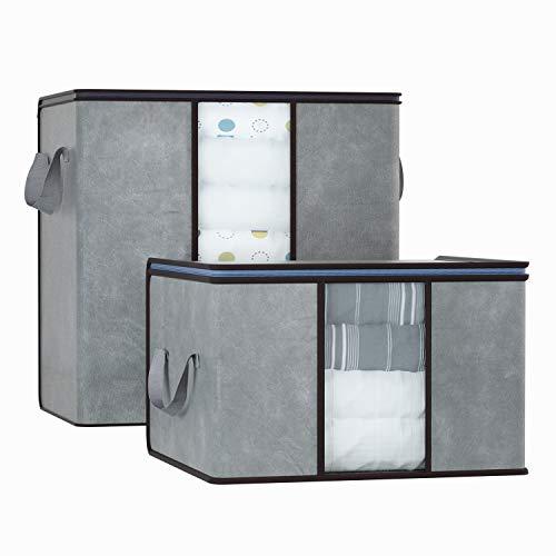 2 Stück Bettwäsche (DIMJ 2 Stück Aufbewahrungstasche Faltbare Aufbewahrungsboxen, Große langlebige für Bettwäsche, Kleidung, Decken, Kissen Quilt Saison Artikel Lagerung)