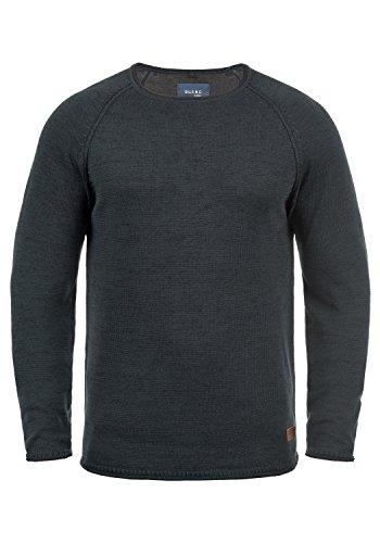 Blend Dan Herren Strickpullover Feinstrick Pullover Mit Rundhals Und Melierung, Größe:3XL, Farbe:Navy/Black (71528)