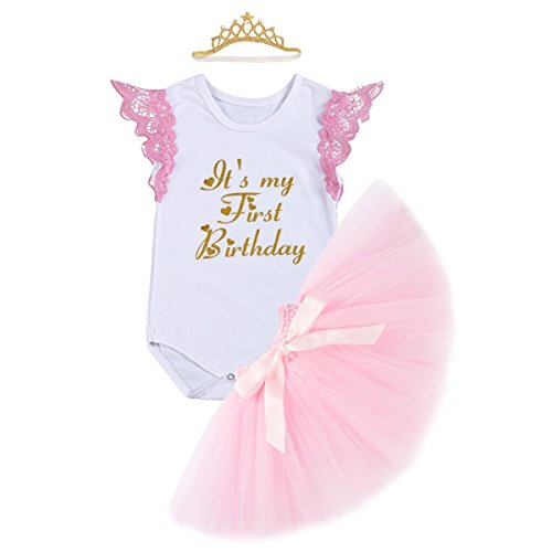 Newborn Baby Infant Toddler Girls It's My 1st Birthday Cake Smash Shiny Printed Sequin Dress Princess Romper Tutu Skirt with Crown Headband Accessories 3pcs Outfit Set Photo Shoot