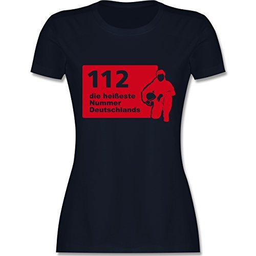 Feuerwehr - 112 die heißeste Nummer der Stadt - tailliertes Premium T-Shirt mit Rundhalsausschnitt für Damen Navy Blau