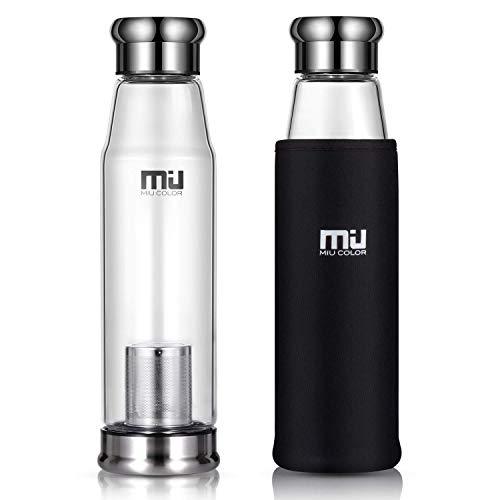 Miu Miu Tasche (MIU COLOR® Stilvolle Tragbare 650ml Glasflasche Größere Kapazität Trinkflasche für Auto, mit Nylon Tasche & Teesieb (Schwarz))