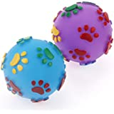 Pets Empire Squeak Vinyl Dog Toy 4 Inch'' Ball With Colourful Paw Pattern Puppy Fetch Throw Play Assorted Color 1 Piece Color May Vary