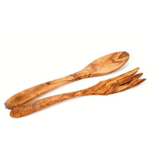 BeldiNest Olive Wood Salad Servers, Handcrafted Olive Wood 30 cm Salad Servers Set of Spoon Fork, Gift for Her -