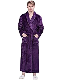 Men s Flannel Bathrobe Dressing Gown Shawl Collar Winter Loungewear  Nightwear Long Nightgown For Shower Hotel Spa 8d7b6c9bc