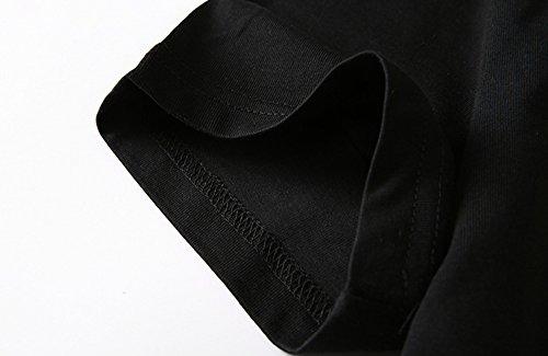 ETASSO Herren Casual Schwarz T Shirt Baumwolle Kurzarm Shirt Schwarz/ Grau