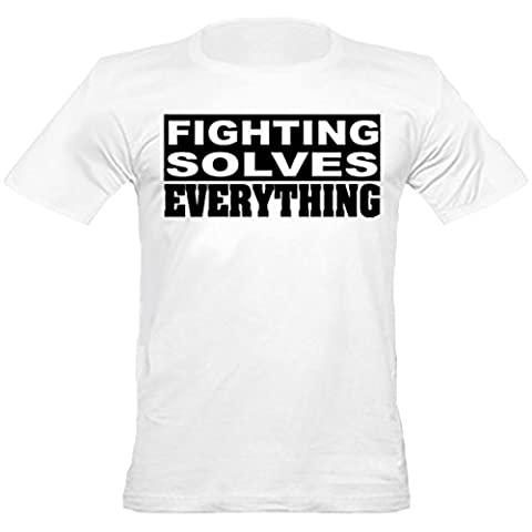 Urban Shaolin Mens MMA, Boxing, löst alles mit Rundhalsausschnitt passte T-Shirt Kämpfen, Xtra Xtra Large, Weiß