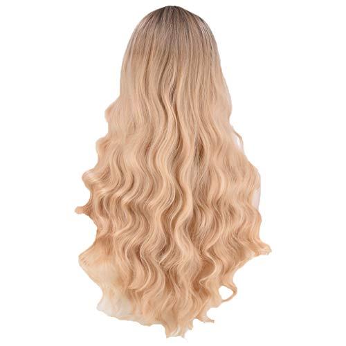 lace front,blonde echthaar perücken für damen gelockt - Haar Europa und Amerika Frau Chemische Faser Farbverlauf Lange Lockige Perücke 60cm Rose Inner Net ()