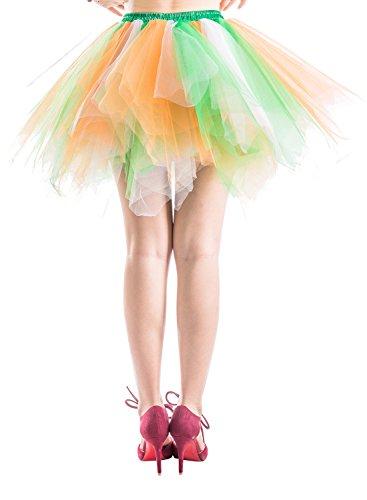 Dressystar Petticoats Minirock Kurz Unterrock Tutu Unregelmäßig Tüll Damen Mädchen Ballettrock Multi-Schichten Grün Weiß Orange