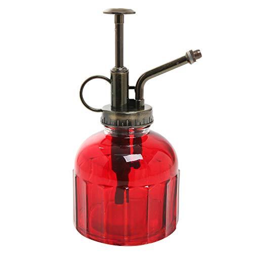 Klein Rot Transparent Gerippter Glas Vintage Stil Pflanze Wasser Mister Spray Flasche mit Pumpe