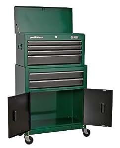 Sealey ap2200bbrg 6-drawer coffre / Servante roulante combinaison avec anneau ROULEMENT BILLE - Vert