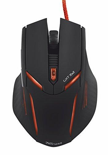 Trust Gaming GXT 152 - Ratón para gaming (iluminación LED, 6 botones, 2400 DPI, PC/Mac), color negro y rojo
