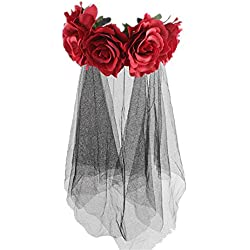 Hellycuche Halloween diadema rosa flor corona corona boda Festival diadema pelo guirnalda boda flor tocado para mujeres niñas accesorios de foto boda Halloween Navidad