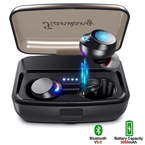 Auriculares Bluetooth inalámbricos V5.0 Hora de reproducción 120h Control de un Toque con Tapones para los oídos IPX8 a Prueba de Agua Estuche de Carga portátil de 3000 mAh CVC 8.0 Educación de Ruido