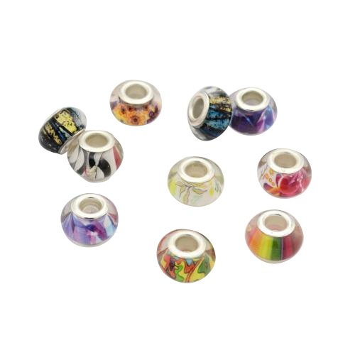 PandaHall-Lot de 10pcs Motif Resine Perles Europeennes, Grandes Perles Rondelle Trou, avec de l'argent Cores Tone Cuivres, Couleur Mixte, Environ 14x9 mm, Trou: 5mm