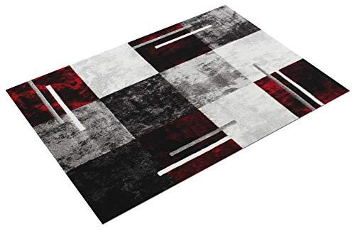 Paco Home Tappeto di Design Moderno Orlo A Quadri Effetto Marmo Rosso Grigio Crema Nero, Dimensione:120x170 cm