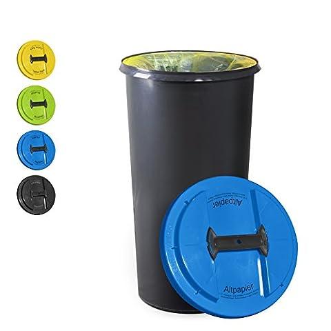 KUEFA BSC6 LA - 60L Mülleimer / Müllsackständer / Gelber Sack Ständer (Blau, Altpapier)