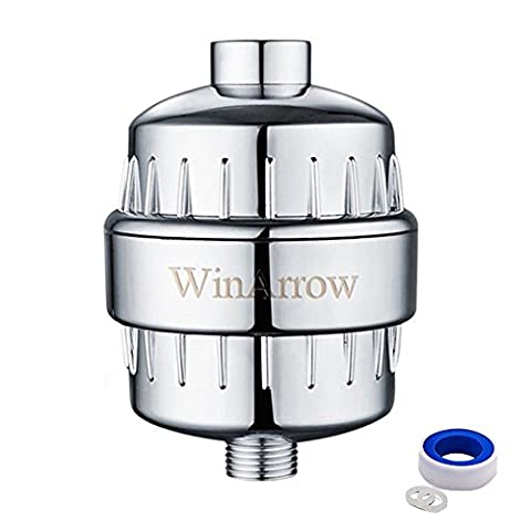 WinArrow 5-Stage Replaceable High Output Universal Shower Filter Deep Water Purifier Let Your Hair and Skin Healthier Free Teflon Tape - Chrome