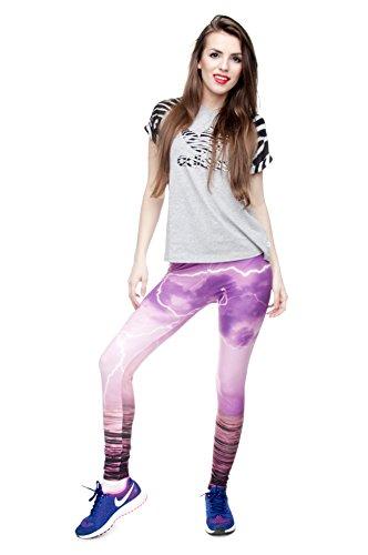 Leggings für Damen/Mädchen, mit 3D-Grafik, elastisch Mehrfarbig - Pink Thunder