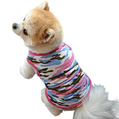 FUNIC Pet Clothes, Cute Dog Pet Puppy Camouflage Vest Shirt Small Dog Pet Vest Apparel (M, Pink) -