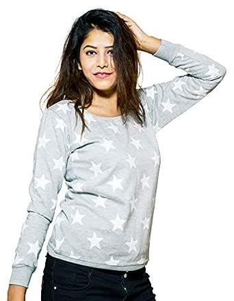 Leotude Women's Fleece Sweat-shirts (Grey, Small)