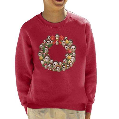 Michael Myers Halloween Multiface Christmas Wreath Kid's Sweatshirt