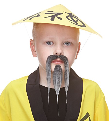ende Kleiner Shaolin Fälschen Bart und Fälschen Schnurrbart für Kinder Salz und Pfeffer Farbe ()