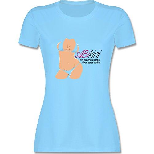 Abi & Abschluss - ABIkini - ein bisschen knapp - tailliertes Premium T-Shirt mit Rundhalsausschnitt für Damen Hellblau