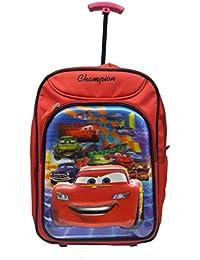 BENZZ Racing Car 18 Inch Red Waterproof Trolley Hybrid Children's Backpack