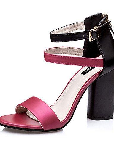 WSS 2016 Chaussures Femme-Décontracté-Blanc / Argent / Or / Bordeaux-Gros Talon-Talons-Talons-Polyuréthane burgundy-us8 / eu39 / uk6 / cn39